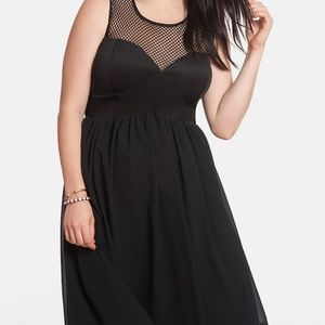Eloquii Mesh & Chiffon Fit & Flare Dress